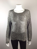EILEEN FISHER PETITE Gray Open Knit Long Sleeve Sweater Size Petite Large