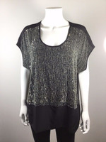 EILEEN FISHER Black Beaded Short Sleeve Silk Blouse Size Medium