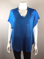 EILEEN FISHER Blue Short Sleeve Linen Silk Blouse Size Medium