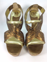 DIANE VON FURSTENBERG DVF Gold Bronze Leather Cork Heeled Sandal Pump Size 6.5