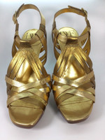 DIANE VON FURSTENBERG DVF Gold Bronze Leather Heeled Sandal Pump Size 7