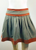 DIANE VON FURSTENBERG Pleats Please Leather Trimmed Mini Skirt Size 2