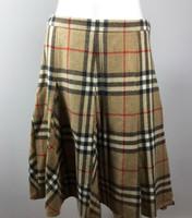 BURBERRY LONDON Tan Plaid Knee A Line Length Skirt Size 8