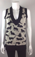 DEREK LAM 10 CROSBY Tan Black Cat Sweater Vest Size Medium