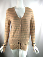 A.L.C. Tan Striped Long Sleeve Cashmere Cardigan Sweater Size Small