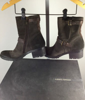 ALBERTO FERMANI Brown Suede Leather Carbone Oakland Moto Boot 37.5 $450 IN BOX