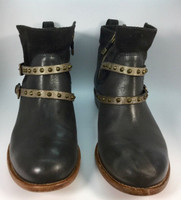ALBERTO FERMANI Black Gray Antracite Leather Studded Emma Ankle Boot Sz 7 $475