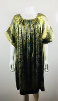 ANNA SUI Green Floral Short Sleeve Dress Size Medium