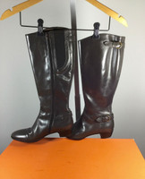 ATTILIO GIUSTI LEOMBRUNI Gray Pebble Leather Knee High Boot Size 37