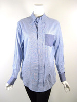 BAND OF BROTHERS Blue Striped Cotton Button Down Top Blouse Size 3