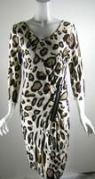 BLUGIRL BLUMARINE Ivory Leopard Print 3/4 Sleeve Dress Size 46/10