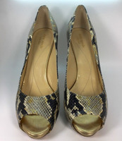 KATE SPADE Snake Print Leather Peep Toe Pump Size 10