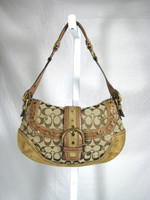 AUTHENTIC COACH Tan Monogram Canvas Suede Studded Shoulder Handbag