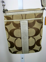 AUTHENTIC COACH Metallic Tan Canvas Messenger Handbag & Coin Purse