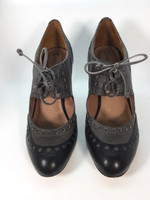 CORSO COMO Black Anthracite Leather Lace Up Dakar Heel Pump Size 7 $185