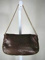 COLE HAAN Brown Leather Shoulder Handbag w/ Chain Handle & Crossbody