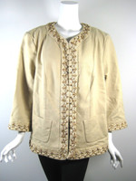 DANA BUCHMAN WOMAN DENIM NWT Wheat Sequin Jacket Size 18 $520