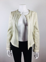 TORY BURCH Ivory Anders Heart Leather Jacket Size X Small $985