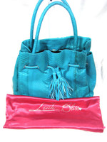 LEAH BLISS Turquoise Snakeskin Leather Tote Shoulder Handbag