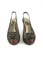 SALPY NEW Bronze Metallic Snakeskin Peep Toe Slingback Pump Size 7.5