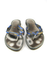 DONALD J. PLINER Gray Blue Gold Leather Flip Flop Sandal Size 9.5