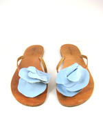 SUNDANCE Blue Leather Flower Flip Flop Flat Sandal Size 41