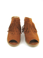 TOPSHOP Brown Blinder Open Toe Fringe Sandal Size 9.5