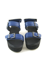 ASOS NEW Blue Patent Leather Platform Sandal Size 9