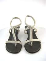 DONALD J. PLINER Silver Leather T Strap Open Toe Slide Sandal Pump Size 9.5