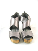CHINESE LAUNDRY Silver Strappy DIGIT Platform Wedge Sandal Size 9.5