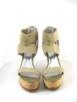 PELLE MODA Taupe Strappy Platform Wedge Sandal Size 9