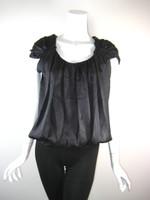 ROBERT RODRIGUEZ Black Silk Cap Sleeve Bubble Hem Blouse Size 4