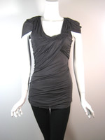 ROBERT RODRIGUEZ Gray Ruched Cap Sleeve Tunic Blouse Size 4