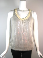 ROBERT RODRIGUEZ Ivory Netted Gray Sequin Tank Blouse Size 4
