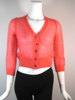 PIAZZA SEMPIONE Coral Cropped 3/4 Sleeve Cardigan Sweater Size 46