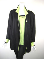 EXCLUSIVELY MISOOK WOMAN Black & Green Striped Jacket & Tank SET 2X