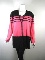 EXCLUSIVELY MISOOK WOMAN Black & Pink Striped Jacket & Tank SET 2X