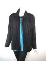 EXCLUSIVELY MISOOK WOMAN Black & Turquoise Jacket & Tank SET 2X
