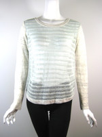 QUINN Ivory Mint Sheer Long Sleeve Size X Small