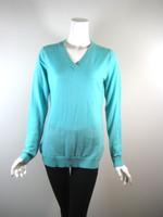 QUINN Turquoise V Neck Long Sleeve Size Medium