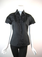LIDA BADAY Black Short Sleeve Button Front Blouse Size 4