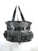 ISABELLA FIORE Gray Black Leather Satchel Shoulder Handbag
