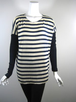 KAIN LABEL Ivory Navy Striped Long Sleeve Tunic Sweater Size Small