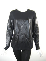 THEORY Black Pull Over Sweatshirt Top Size Medium