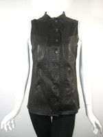 DEREK LAM 10 CROSBY Black Leather Vest Jacket Size 8