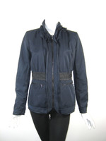 ELIE TAHARI Navy Blue Zip Front Jacket Size Small