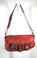 CYNTHIA ROWLEY Red Pebbled Leather Small Shoulder Handbag