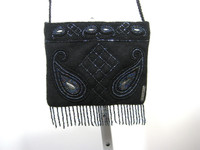 GEIGER Black Beaded Wool Small Clutch Shoulder Handbag