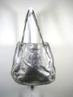 MICHAEL KORS Silver Leather Chain Shoulder Handbag