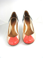CHIE MIHARA Coral Metallic Leather Heel Pump Size 36